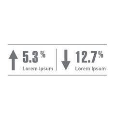 percent arrow up and down percentage arrow vector image