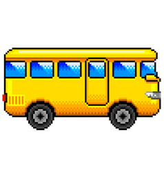 pixel yellow bus detailed isolated vector image