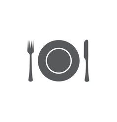 platefork and knife icon on white background vector image