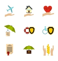 Protection icons set flat style vector