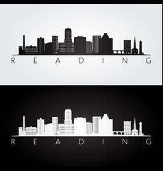 Reading usa skyline and landmarks silhouette vector