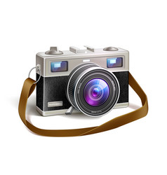 Realistic vintage film photo camera macro lens vector