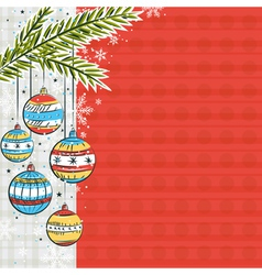 red background with color christmas balls vector image