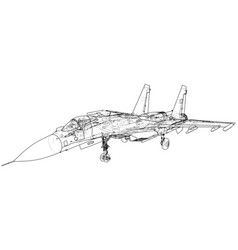 russian jet fighter aircraft wire-frame vector image