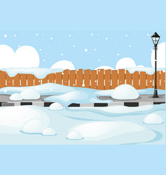 Scene with snow on the street vector
