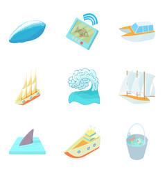 Sea pleasure icons set cartoon style vector