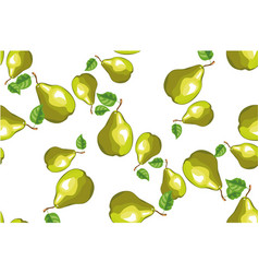 seamless background with green pears vector image