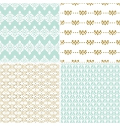 Seamless vintage floral background gold and pastel vector
