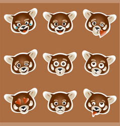Set 9 emoji with red panda face colored vector