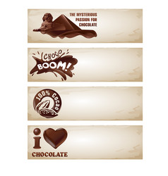 set chocolate banners vector image
