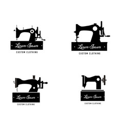 set collection vintage sewing machine logo vector image
