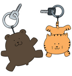 set of animal keychain vector image