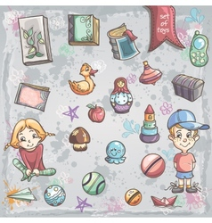 set of children toys and books for boys and girls vector image