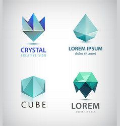 Set of crystal faceted abstract logo vector