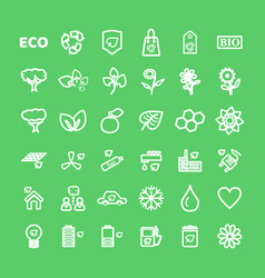 Set white eco icons on green in flat vector