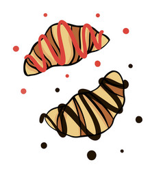 sketch strawberry croissant and chocolate vector image