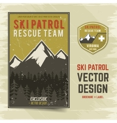 Ski patrol brochure and label The camp vector