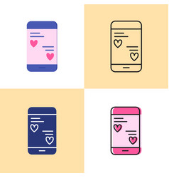 smartphone mobile chat with love messages icon set vector image