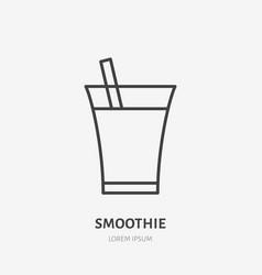 smoothie flat line logo fresh drink juice in vector image
