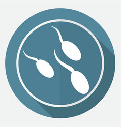 sperm icon on white circle with a long shadow vector image