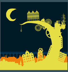Steampunk city silhouette background backdrop wall vector