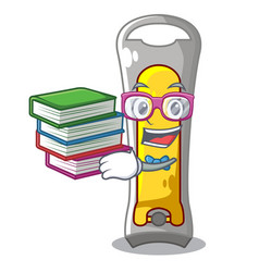Student with book nail cutter isolated on a vector