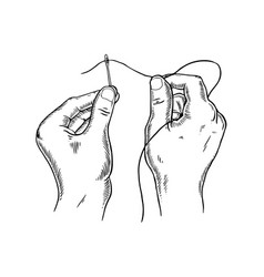 thread needle engraving vector image
