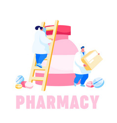 Tiny pharmacist characters climbing on huge vector