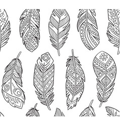 tribal feathers in contour endless background vector image