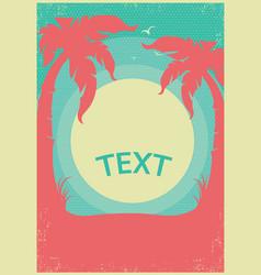 Tropical paradise retro poster horizon background vector