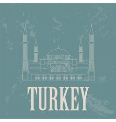 Turkey landmarks Retro styled image vector image