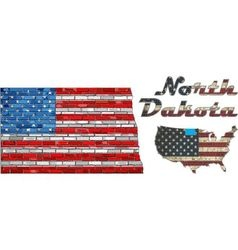 Usa state of north dakota on a brick wall vector