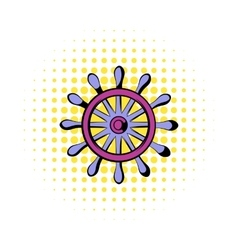 Wooden ship wheel icon comics style vector