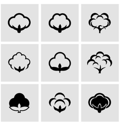 black cotton icon set vector image vector image