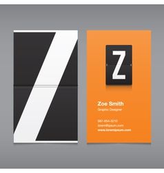 business card letter Z vector image