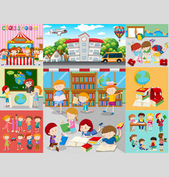 different scenes with children at school vector image vector image