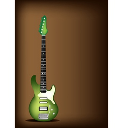 Green Electric Guitar on Dark Brown Background vector image vector image