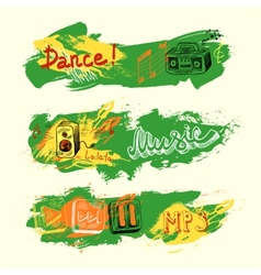 Grunge sketch music banners vector image