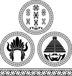 mayan signs headdress pyramid and pattern stencils vector image