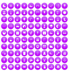 100 childrens parties icons set purple vector image