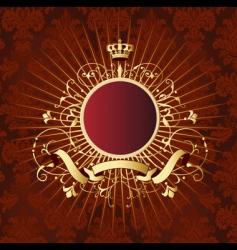 gold retro shield vector image
