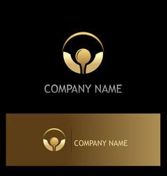 golf ball icon gold logo vector image