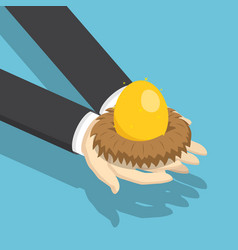 isometric businessman holding nest with golden egg vector image vector image