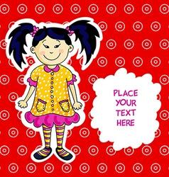 Little asian girl card vector image vector image