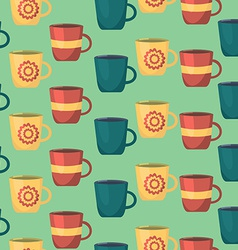 Seamless Pattern with Cups Teatime Background for vector image vector image