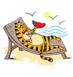 Cat vacationist sea vector image vector image