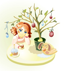 Girl under Easter Tree vector image vector image