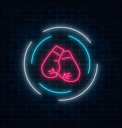 glowing neon boxing club sign in circle frame on vector image