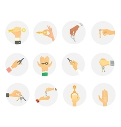 Hands holding keys set vector