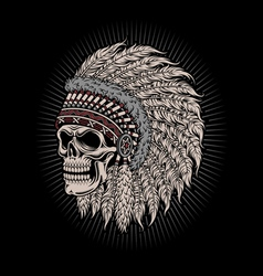 Native American Indian Chief Skull vector image vector image